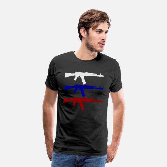 AK 47 Assault Rifle Russian Flag Weapons 187 Men's Premium T
