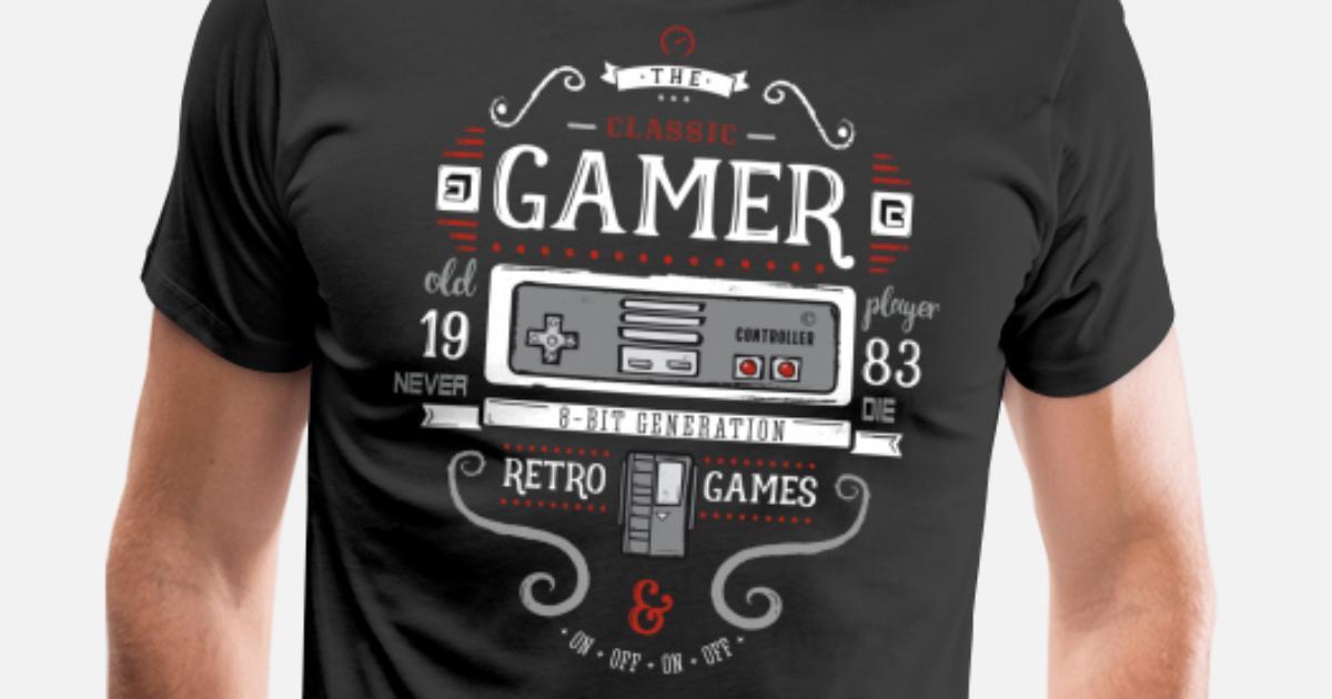 202e3a403 Nerd gry retro gry 8bit pc konsola stary zabawa Premium koszulka męska |  Spreadshirt
