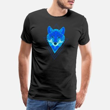 Polygon Blue wolf dog polygon - Men's Premium T-Shirt