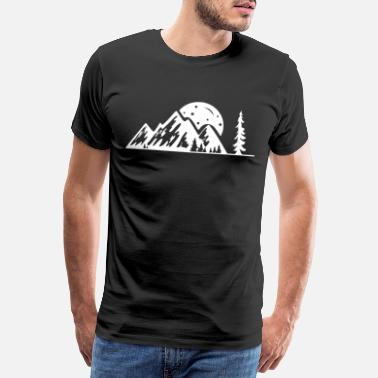 Alm Mountains forest trees and moon camping nature - Men's Premium T-Shirt