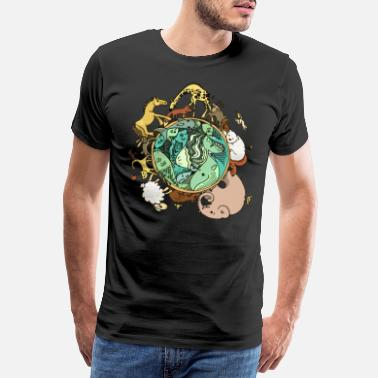 Nature Collection Natuur dierenbol wereldbol - Mannen premium T-shirt