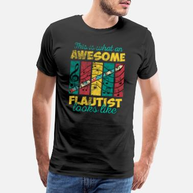 Record Player Flute playing recorder flute - Men's Premium T-Shirt