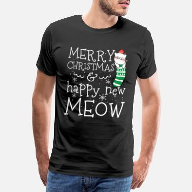Engel Familie Merry Christmas & happy New Meow Silvester & XMAS - Männer Premium T-Shirt
