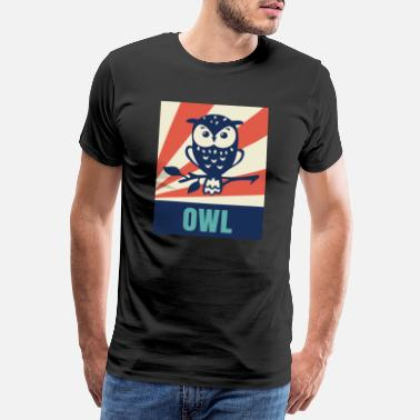 Uil Owl Owl Watching Hunter Mouse Dive - Mannen premium T-shirt