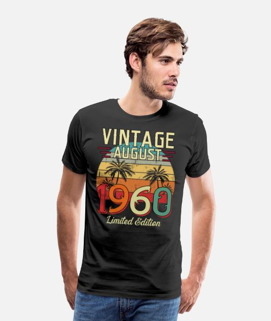 Made In 1960 T-Shirts - Vintage August 1960 Limited Edition - Men's Premium T-Shirt black