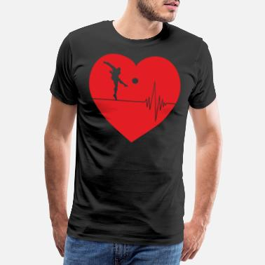 Libero Soccer in red heart with pulse heart line - Men's Premium T-Shirt