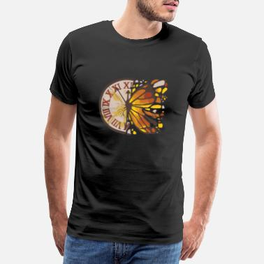 Clock Time Flies Butterfly Clock Time Entomologist - Premium T-shirt herr