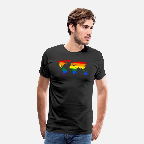 Gay Pride T-Shirts - rainbow world map - Men's Premium T-Shirt black