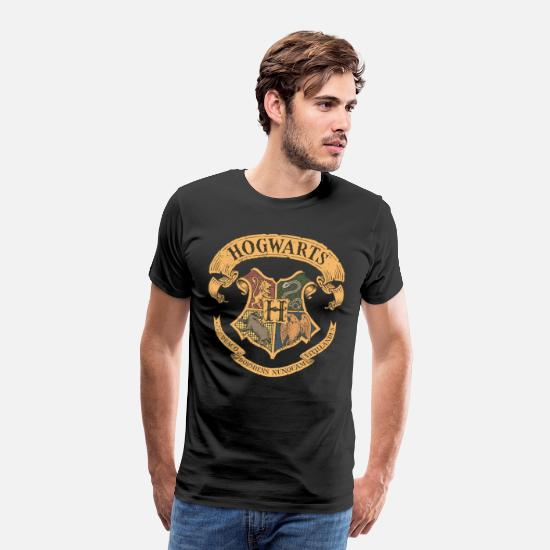 Harry T-shirts - Harry Potter Hogwarts wapen - Mannen premium T-shirt zwart