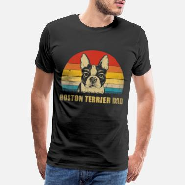 Thanksgiving Mens Vintage Boston Terrier Dad Funny Fathers Day - Men's Premium T-Shirt