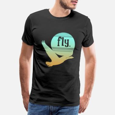 Swan Flying goose geese duck bird vintage retro - Men's Premium T-Shirt