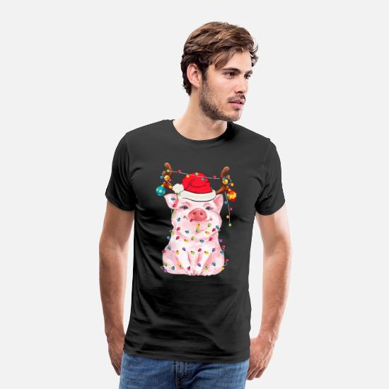 Unicorn T-Shirts - Pig Lovers Christmas Reindeer Funny Gift - Men's Premium T-Shirt black
