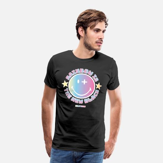 Officialbrands T-paidat - SmileyWorld Rainbow Is The New Black - Miesten premium t-paita musta