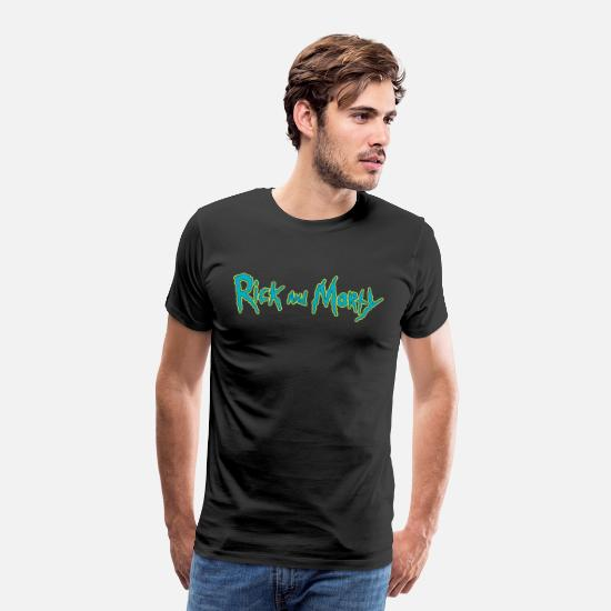 cool T-Shirts - Rick And Morty Title Typography - Men's Premium T-Shirt black