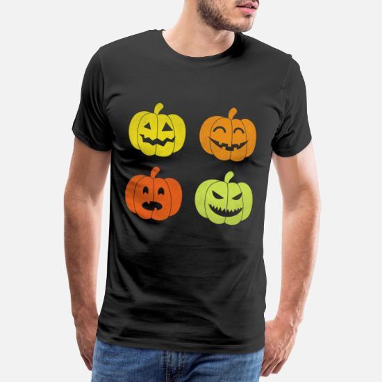 Herren T-Shirt Halloween Kürbis Kopf Größe bis 5XL