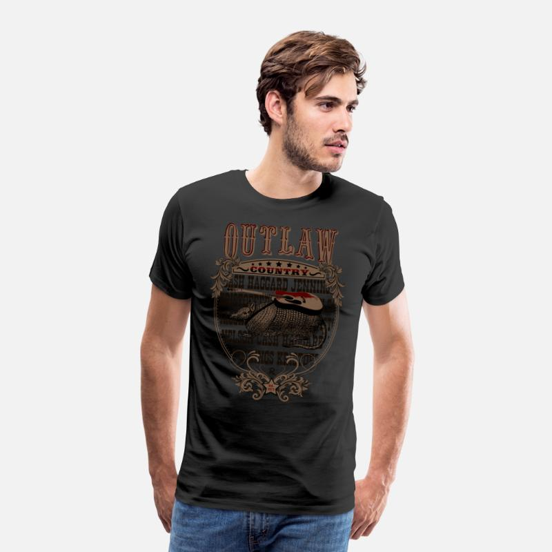 Country T-Shirts - American Outlaw Country (Armadillo gitaar) - Mannen premium T-shirt zwart