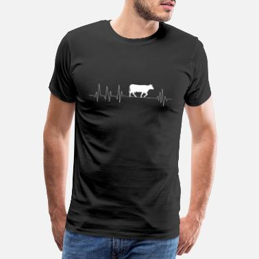 Dairy Cow Cows cow farmer farm heartbeat gift - Men's Premium T-Shirt