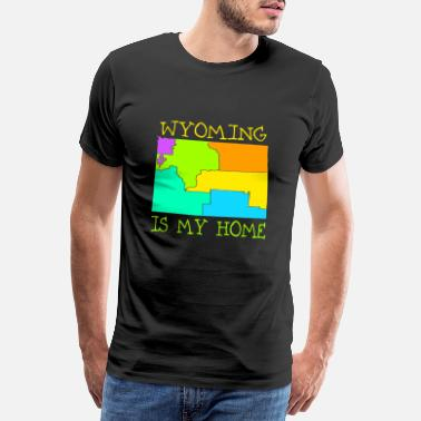 Kaart USA Staat: Wyoming - Mannen premium T-shirt