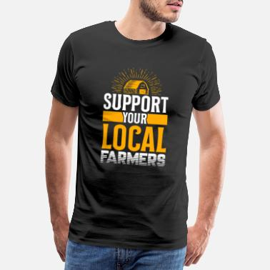 Cow Support your local farmer Chicken Farming Cow - Men's Premium T-Shirt