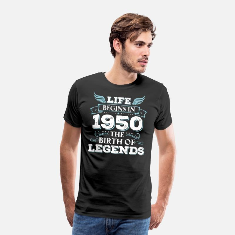 Birthday T-paidat - Life begins in 1950's The Birth of Legends, 1950 - Miesten premium t-paita musta