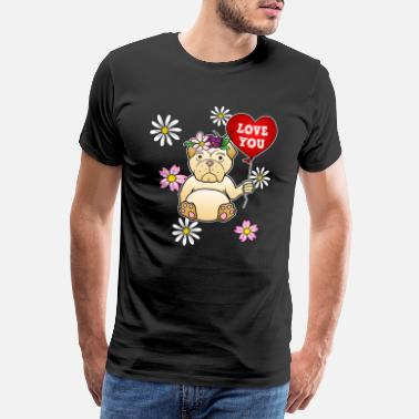 Olde English Bulldog Bulldogge Blumen Old English Herz Love You Süß - Männer Premium T-Shirt