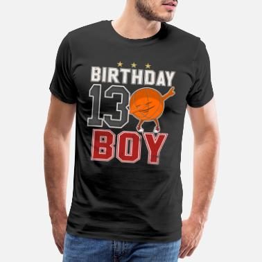 13th Födelsedag 13 år gammal - 13: e Dabbing Basketball B-Day Boy - Premium-T-shirt herr