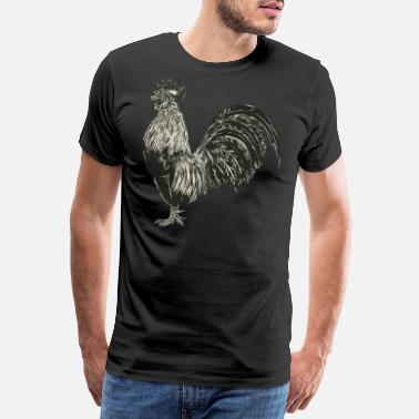 Chicks Black and White Rooster for Chicken Lovers - T-shirt premium Homme