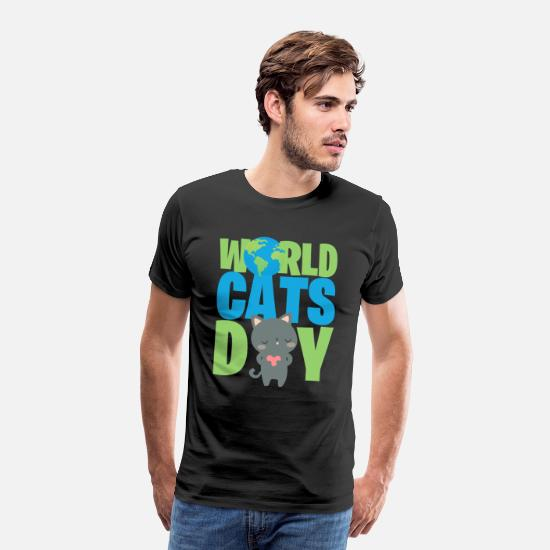 Cats T-Shirts - WORLD CAT S DAY - Männer Premium T-Shirt Schwarz