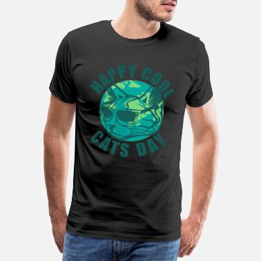Mjau Happy Cool Cats Day - Premium T-shirt herr