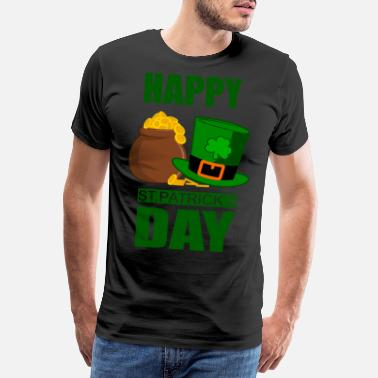 Bishop St Patrick's Day | Hat with gold cauldron - Men's Premium T-Shirt