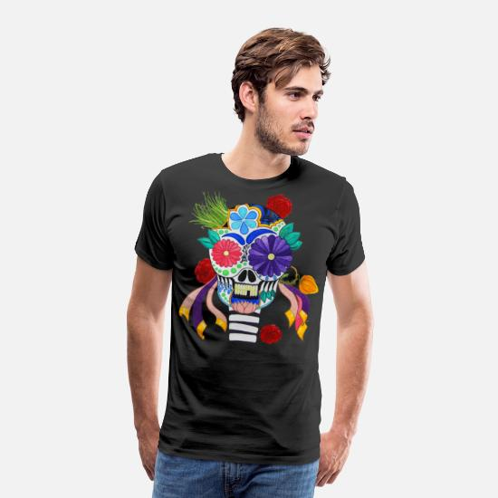 Dead T-Shirts - Mexican Skull of the Day of the Dead - Men's Premium T-Shirt black