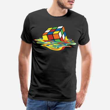 Rubik's Cube Melted Colourful Puddle - Miesten premium t-paita