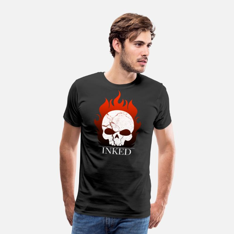 Tattooed T-Shirts - flaming skull skull tattoo gift - Men's Premium T-Shirt black