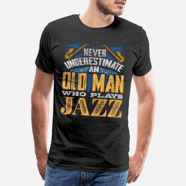 Heavy The old man plays jazz music - Men's Premium T-Shirt