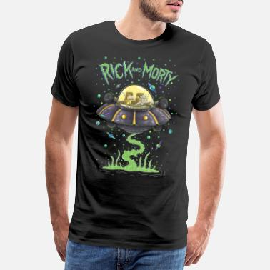 Officialbrands Rick And Morty Fliegen Im Raumschiff - Männer Premium T-Shirt