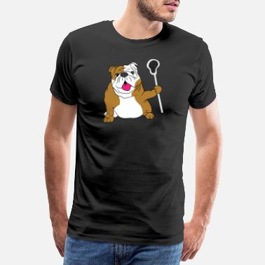 Dad LAX Dad Bulldog Dog Lacrosse Gift - Premium T-skjorte for menn