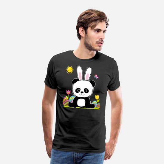 Easter T-Shirts - Easter panda bear for women, men and kids - Men's Premium T-Shirt black