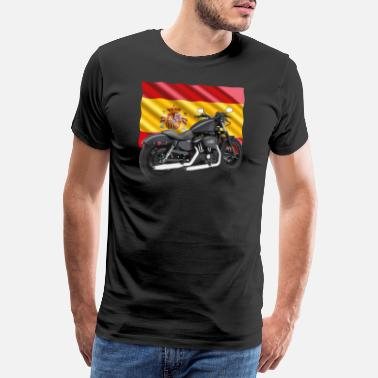Bainderas Motorbike with the flag of Spain - Men's Premium T-Shirt