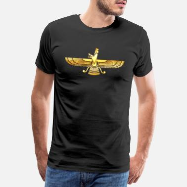 Enlightenment Faravahar Zarathustra symbol sign Wing Hawk - Men's Premium T-Shirt