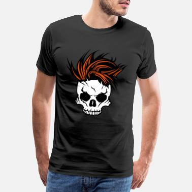 Skull Punk head of death skull punk hairstyle 1511 - Men's Premium T-Shirt