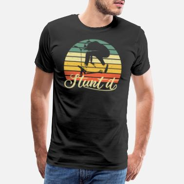 Scooterförare Scooter stunt kick scooter e-scooter retro gåva - Premium T-shirt herr
