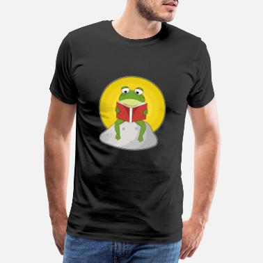 Amphibian Frog while swimming with sunglasses - Men's Premium T-Shirt