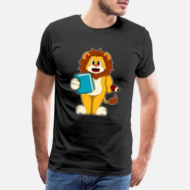 Baby Girl Lion as a student with book - Men's Premium T-Shirt