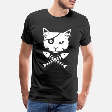 Moustache Pirate cat - Men's Premium T-Shirt