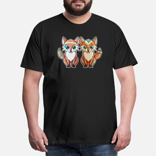 Fox Indian Couple Red Birthday Gift Mens Premium T Shirt