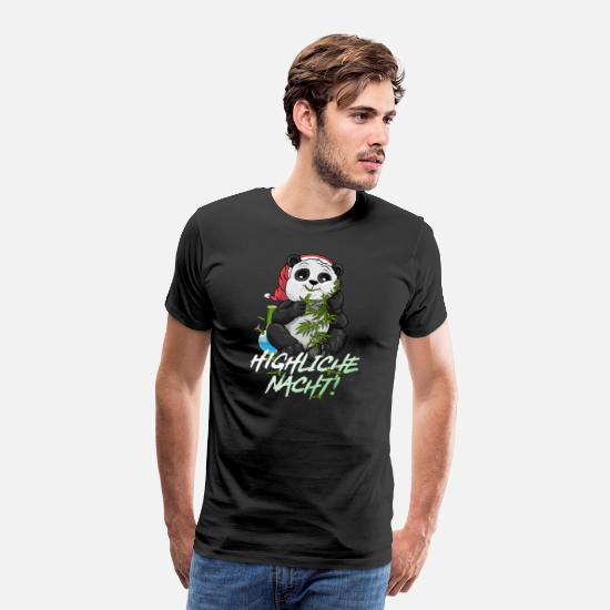 Christmas T-Shirts - HIGHLIGHT NIGHT Panda Christmas THC Kiffer - Men's Premium T-Shirt black