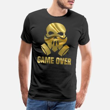 Gold GAME OVER - Totenkopf mit in gold, - Männer Premium T-Shirt