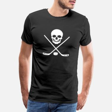 Street Hockey Ice Hockey Bat Pirate Skull Bat Puck - Men's Premium T-Shirt
