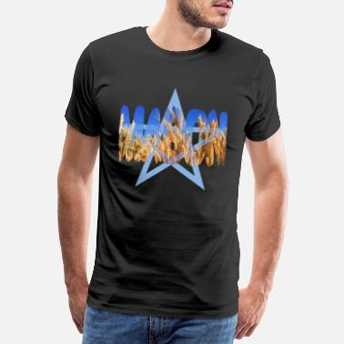 Wicca mabon with wheat and pentagram - Men's Premium T-Shirt
