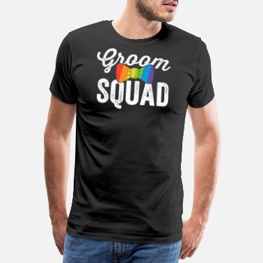 Bisexual Pride Groom Squad Shirt LGBT Pride Gay Bachelor Wedding - Men's Premium T-Shirt
